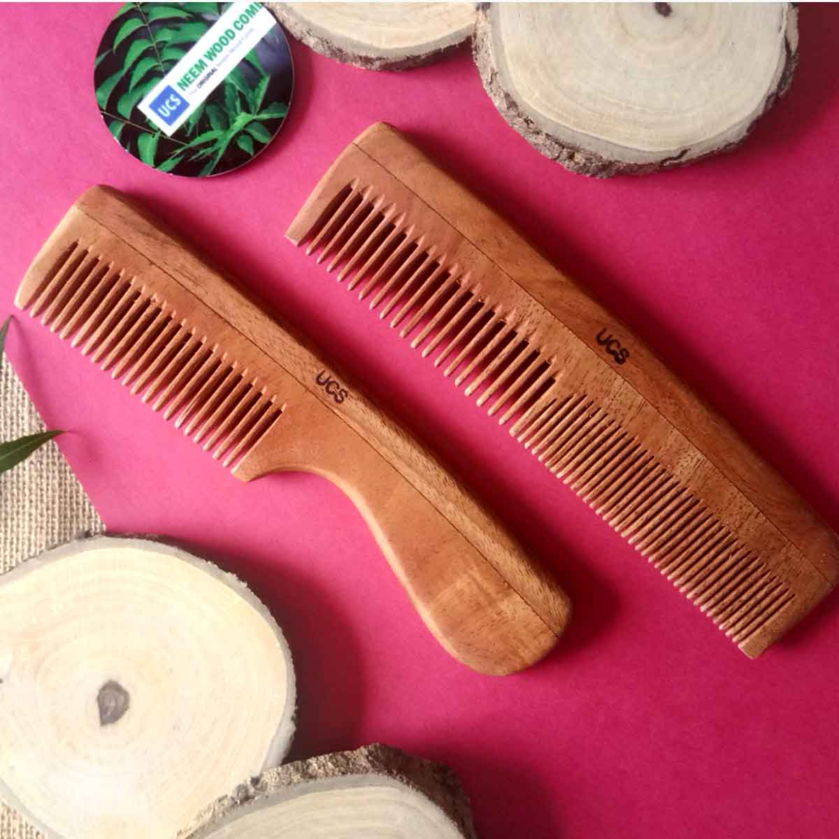 Neem Wood Comb Set of 2 Hair Combs (UCS1001)