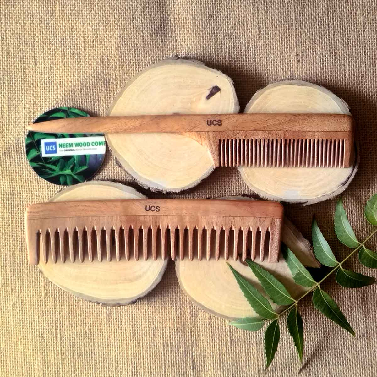 Set of 2 Neem Wood Hair Combs For Thick, Curly Hair (UCS1060)