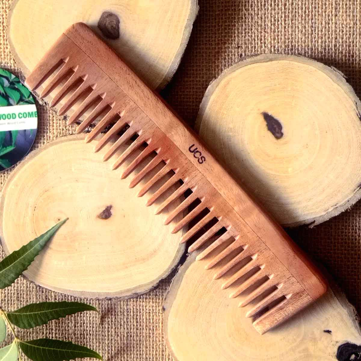 UCS Detangling Wood Hair Comb Made of Neem Wood (UCS1013)