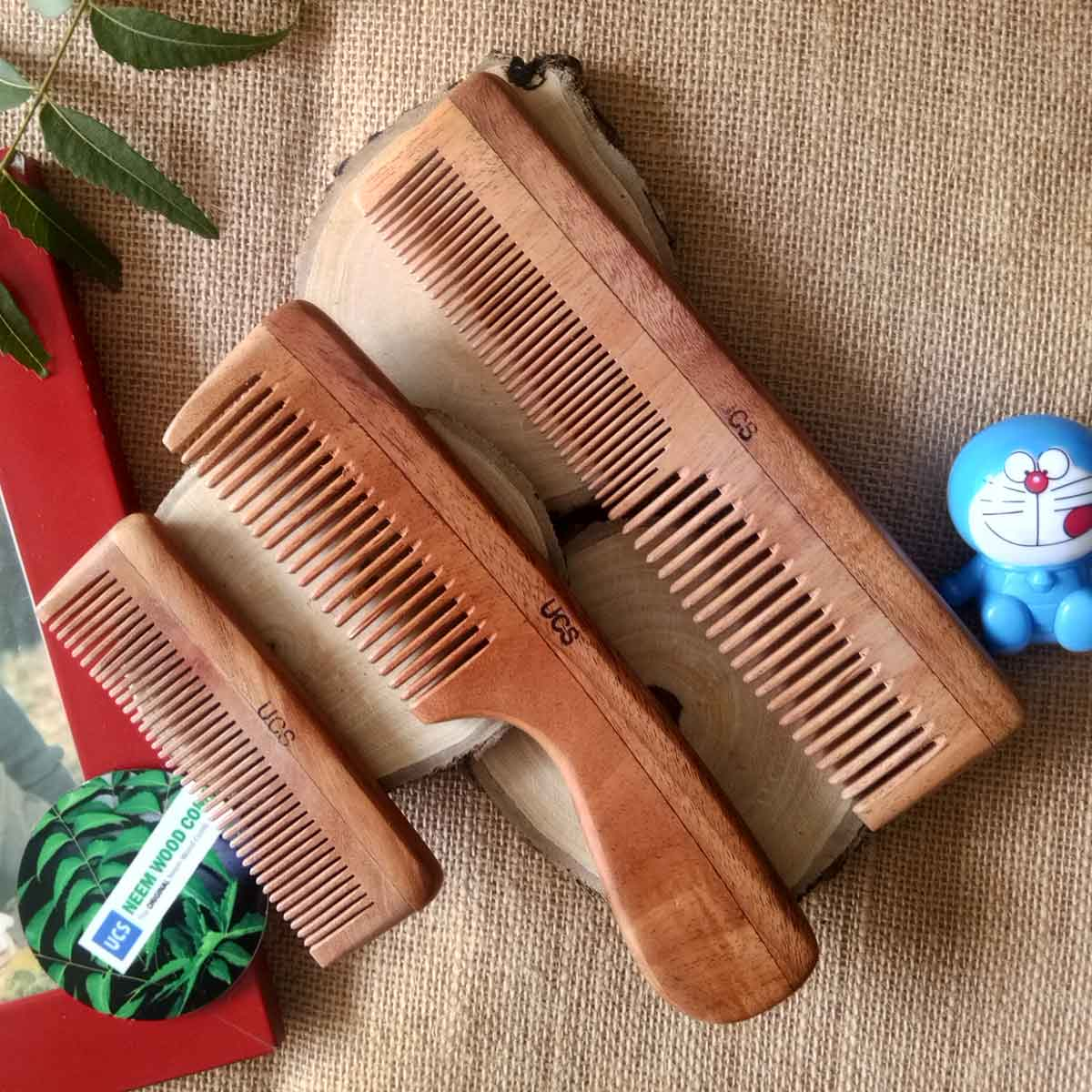 UCS Family Set of Neem Wood Combs Set of 3 Hair Combs (UCS1019)