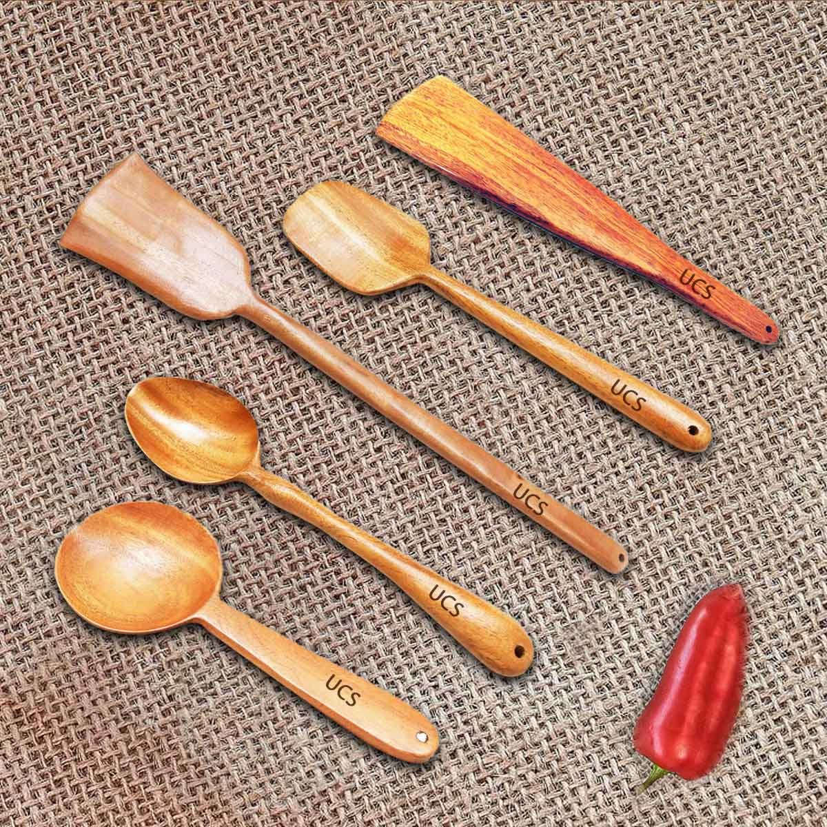 Set of 5 Neem Wooden Spatulas and Serving Spoons